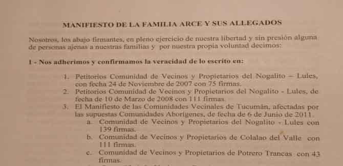 Manifiesto de la Familia Arce y sus allegados (Nogalito – Tucumán)